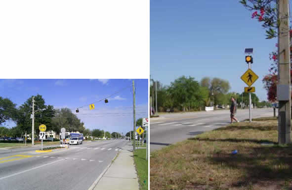FIGURE 7 Photographs showing a traditional over-head circular incandescent flashing beacon (left photograph) and a round side-mounted beacon (right photograph).