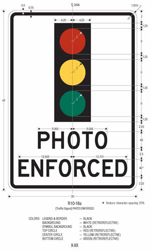 An image of a Traffic Signal Photo Enforced (R10-18a) sign