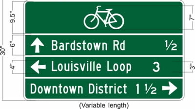 A drawing is included that shows a white-on-green destination sign with a 7-inch tall bike symbol centered at the top of the sign, below which are three destinations, the first one being Bardstown Road a half a mile straight ahead, then Louisville Loop three miles to the left, and finally Downtown District a mile and a half to the right. Various dimensions are also shown for the sign.