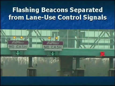 Example 8 shows Flashing Beacons Separated from Lane-Use Control Signals.