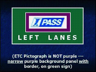 Example 3 shows ETC Pictograph is NOT purple --- narrow purple background panel with border, on green sign.
