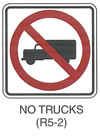 "Regulatory Sign ""NO TRUCKS (R5-2)"" is shown as a square white sign with a black border. A black symbol of a left-facing box truck is shown with a red circle and diagonal red slash running from the upper left to the lower right superimposed on it."