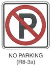 "Regulatory Sign ""NO PARKING (R8-3a)"" is shown as a square white sign with a black border and the letter ""P"" in black inside a red circle with a red slash through the ""P."""
