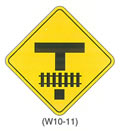 "Railroad and Light Rail Transit Grade Crossing Sign ""LIMITED VEHICLE STORAGE SPACE BETWEEN INTERSECTION AND TRACKS (W10-11)"" is shown as a diamond-shaped sign with a symbol of a T-shaped intersection with a symbol of a horizontal railroad track across the vertical arm."