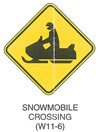 "Warning Sign ""SNOWMOBILE CROSSING (W11-6)"" is shown as a diamond-shaped symbol sign with a symbol of a left-facing snowmobile and driver."