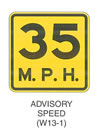 "Warning Sign ""ADVISORY SPEED (W13-1)"" is shown as a square sign with the legend ""35 MPH"" on two lines, with ""35"" in large numerals."