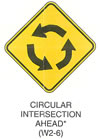 "Warning Sign ""CIRCULAR INTERSECTION AHEAD (W2-6)"" is shown as a diamond-shaped sign. It shows three curved black arrows curving to the left in a circular pattern. It is shown above a W16-12p sign. It is shown as a horizontal rectangular supplemental plaque with the words ""TRAFFIC CIRCLE"" on two lines. This sign was anticipated for inclusion in the 2003 edition of the MUTCD at the time of this printing."