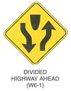 "Warning Sign ""DIVIDED HIGHWAY AHEAD (W6-1)"" is shown as a diamond-shaped sign. At the top of the sign, a depiction of the plan view of the nose of a traffic island is shown. A vertical downward-pointing arrow is shown to the left of the island, curving to depict movement to the left of the nose of the island. A vertical upward-pointing arrow is shown to the right of the island, curving to depict movement to the right of the nose of the island."